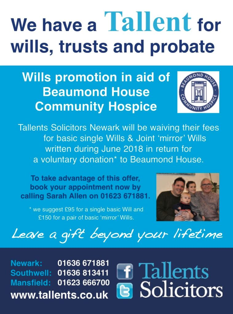 Tallents Solicitors is delighted to be supporting Beaumond House Community Hospice with a write a Will promotion