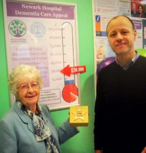 Alistair Millar and June Howsam raising funds for the Newark Hospital Dementia Ward Appeal