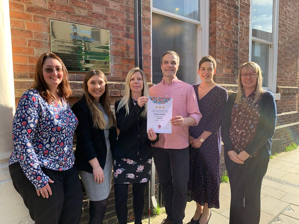 Tallents Solicitors were the third highest fundraiser for Will Aid in 2019