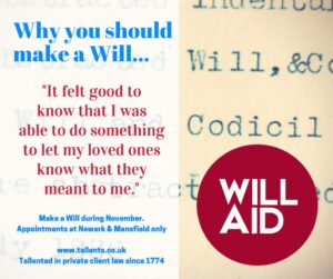 Make a Will during Will Aid month at Tallents Solicitors in Newark and Mansfield