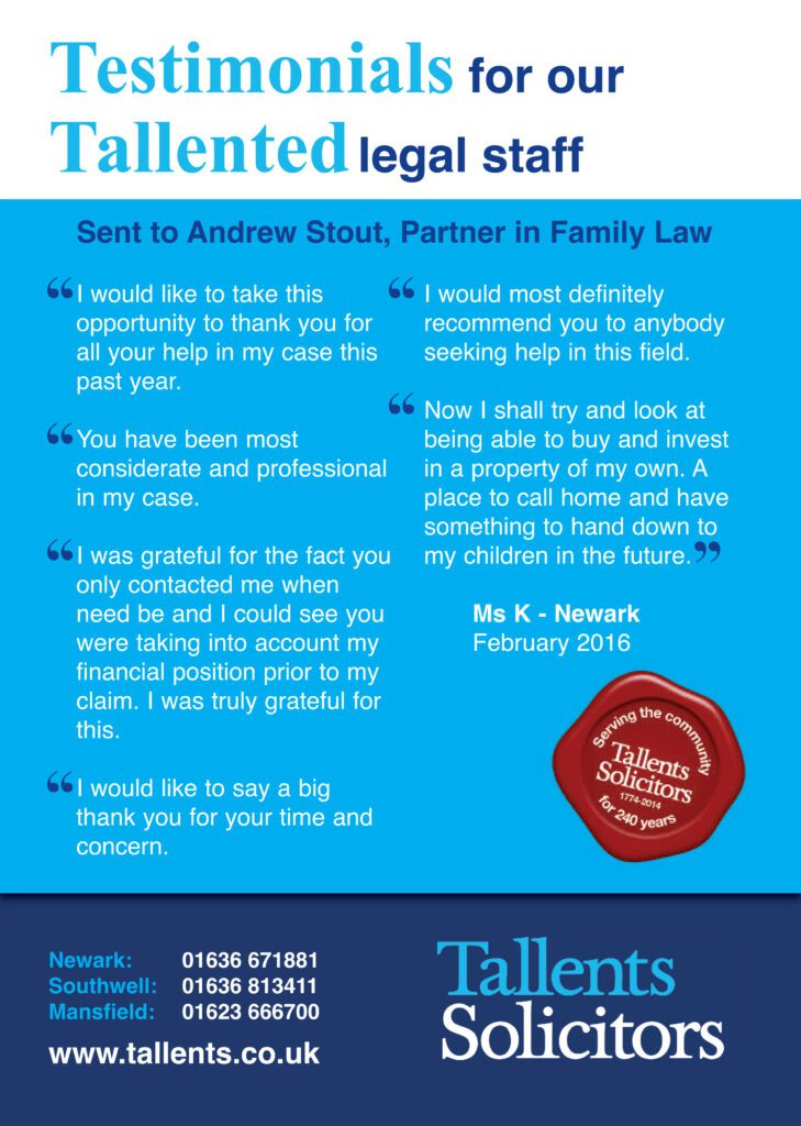 Testimonial for family lawyer Andrew Stout of Tallents Solicitors Newark