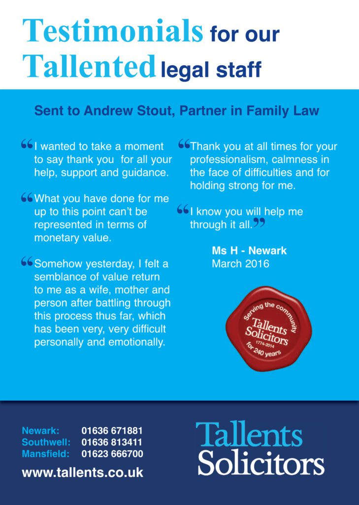 Testimonial for family lawyer Andrew Stout of Tallents Solicitors
