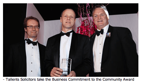 Tallents Solicitors accepts the Business Commitment to the Community Award 2012