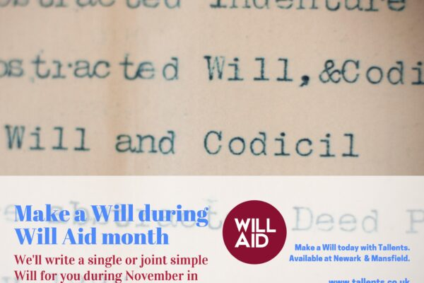 Tallents Solicitors have launched Will Aid again